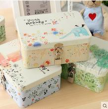 New hot Korea style high capacity stationery box desktop lockable storage box pencil case Makeup tin box free shipping(China)