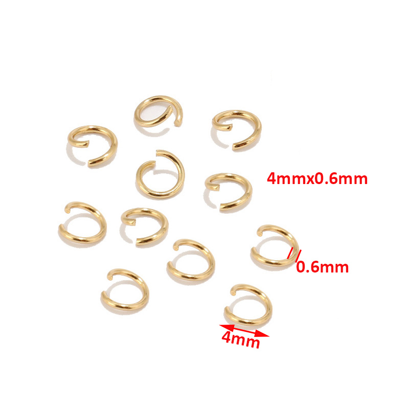 100PCs Stainless Steel Circle Split Rings  Gold Plated Jewelry Findings DIY 4mm