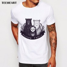 Newest Funny Modern Bear FamilyPrinted T-Shirt Summer Trendy Mens Hip Hop Short Sleeve Tee Tops Clothing Plus Size La767(China)