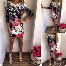 Fashion 2017 Summer Dress Sexy Casual Slim Micky Print Dress Package Hip Milk Silk Bodycon Dress Women Party Dresses Vestidos