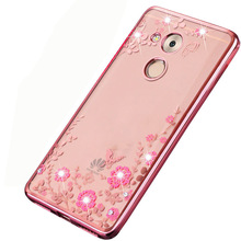 For Huawei Honor 6C Pro Case JMM-L22 TPU Glitter Flower Bling Diamond Clear Back Cover Honor 6C 6 C Pro Case Soft Silicon Cases(China)