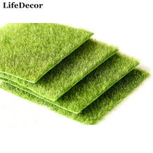 Wholesale 10pcs Nearly Natural Grass Mat Green Artificial Lawns 15x15cm Turf Carpets Fake Sod Home Garden Moss Floor Decoration(China)