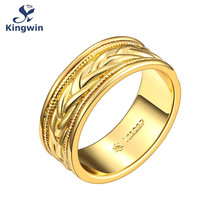 Kingwin new collection designer jewelry cz Pure Gold Color eternal band ring for his her wedding jewellery gift