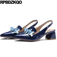 Thick Slingback Blue Size 33 High Heels Designer Pumps 13 45 12 44 Big Women Shoes Pointed Toe Patent Leather Medium Sandals(China)