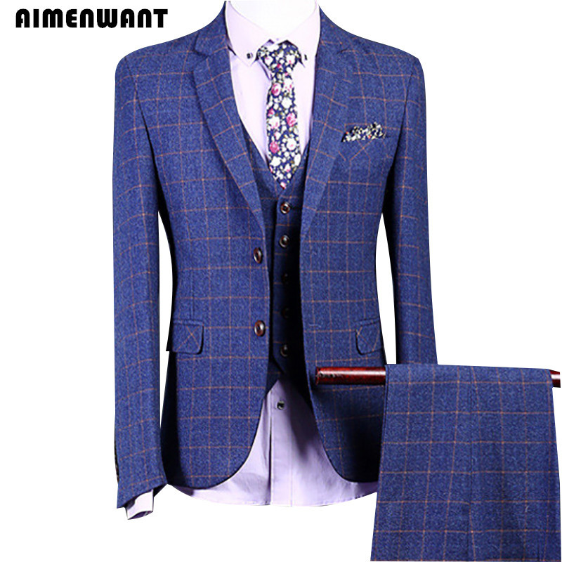 AIMENWANT Mens Suits Korea Fashion Business Professional Tweed Blazer Male Blue Grid Suits For Wedding Jacket+Pants+Vest Set