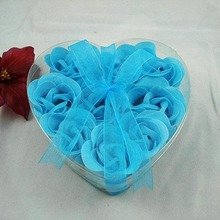 6Pcs Flower Head Wedding Decor Two-color Roses Soap Flowers Heart-Shaped Rose Soap Flower Gift Creative Gifts Wholesale 65Z