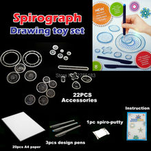 Spirograph Drawing toys set 3pcs Pens & 22PCS Accessories Draw Spiral Designs Interlocking Gears & Wheels magnetic toy for kids(China)
