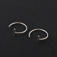 Boho T Shape C Shape Simple Earrings Handmade Silver Color Tribal Punk Endless Bar Circle Hoop Earring For Women Jewelry Charms(China)