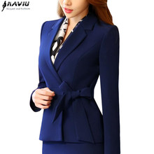 New business women clothes OL winter elegant bow long sleeve blazer formal uniforms office ladies plus size work wear jacket(China)