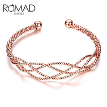 2017ROMAD fashion brand mesh knit hollow net knot open bracelet women's bracelet fashion bracelet holiday wedding gift bracelet(China)