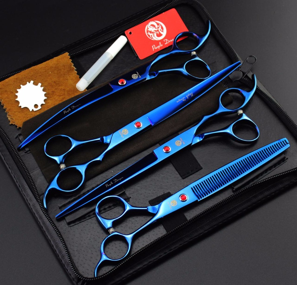FREE SHIPPING set of 8 inch professional Cat &amp; Dog Pet grooming scissors CUTTING &amp; THINNING &amp; CURVED hair shears pet salon<br>