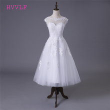 Buy Beach Vestido De Noiva 2018 Short Wedding Dresses A-line Tea Length Tulle Appliques Lace Cheap Wedding Gown Bridal Dresses for $74.10 in AliExpress store