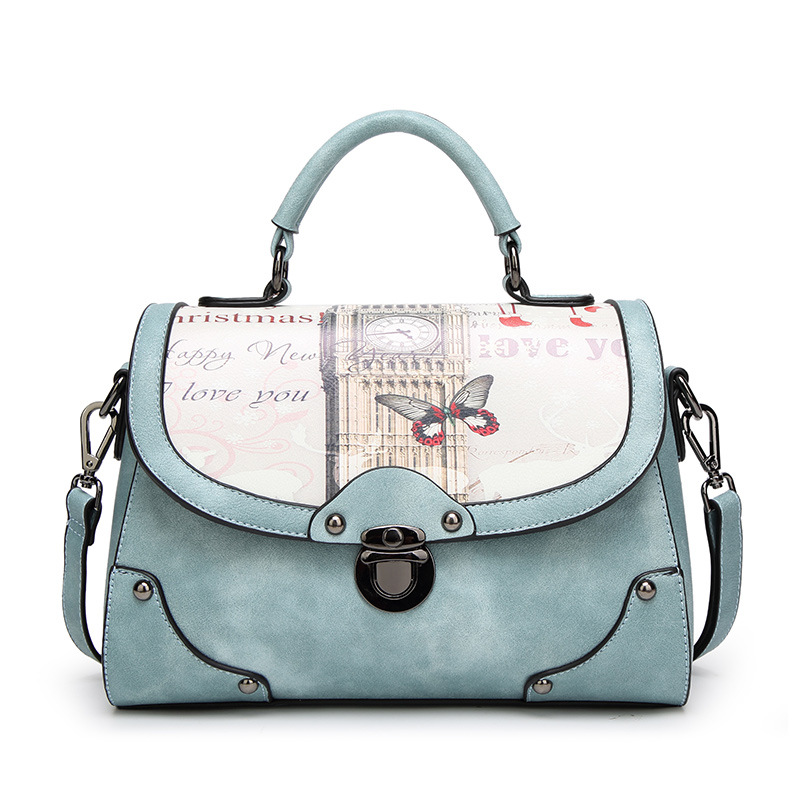 Fashion England Oil Pattern Big Bell Tower Women Bag PU Leather Lady Handbag Casual Girls Shoulder Messenger Bags Sweet Female<br>