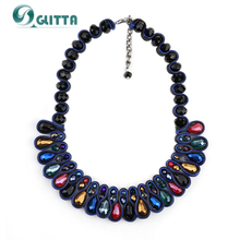 4 Colors Glitta Jewelry Women Multicolor Crystal Necklace 2016 New Arrival Italy Roma Style Ribbon Choker Necklaces Fashion