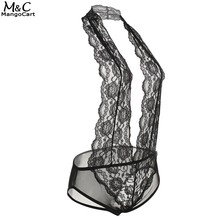 Buy Women Sexy Lingerie One Piece Lingerie Sexy Hot Erotic Hollow Floral Lace Halter Backless Teddies Sleepwear Nightwear Black