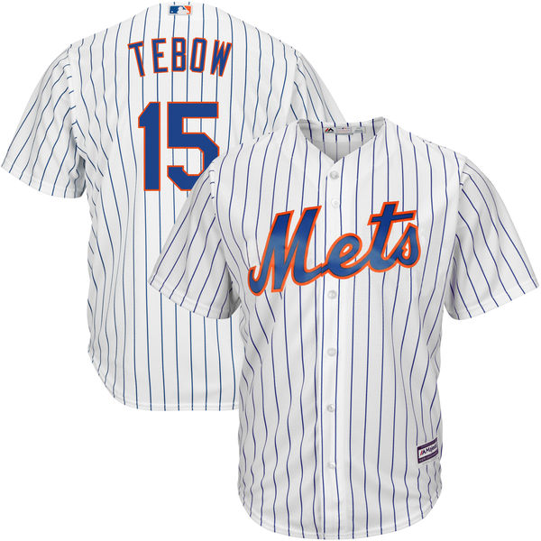 MLB Youth New York Mets Tim Tebow Baseball Home White Official Cool Base Player Jersey(China)