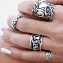 R288 4pcs Vintage Punk Ring Sets Carved Antique  Elephant Totem Lucky Rings Anillos Women Boho Beach Jewelry
