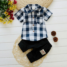DIIMUU Kids Baby Boys Clothing Outfits Toddler Infant Boy Summer Casual Plaid Shirt + Middle Pants Set
