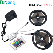 5M 10M 3528 led strip RGB Non waterproof 5m/roll 60leds/m SMD LED Stripe light+DC12V power adapter+24Key/Music remote controller