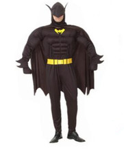 halloween batman costume super hero adult man fale costume 165-180cm muscle  carinval  birthday  party gift jumpsuit+cloak+belt
