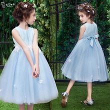 Princess dress blue summer sleeveless weddings party pink tutu dress brand gown for 5 6 7 8 9 10 11 12 13 14 15 16 years girl