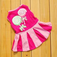 New Qualified Autumn Candy Pattern Puppy Dog Doggie Apparel Clothes Hoodies Skirt Dress dog clothes roupa de cachorro D48SE4(China)