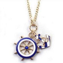 2016 New Hot Jewelry Fashion Texture Blue Navy Style Anchor Exaggerated Personality Pendant Statement Necklace For Women N128