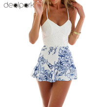 Sexy Women Lace Crochet rompers womens jumpsuit Floral Print Adjustable Strap Zipper Back Short Macacao Feminino overalls White(China)
