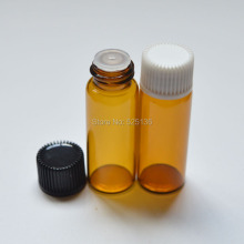 50pcs 5cc Mini Small Amber Glass Bottle with Orifice Reducer and Plastic Cap Small Essential Oil 5ml Bottle(China)