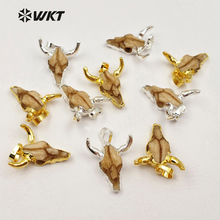 WT-P1212 Wholesale fashion jewelry tiny size cattle head pendant High quality Charm Buffalo pendant for jewelry making(China)