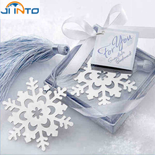 2015 Fashion Special Design wedding decoration 10PCS Snowflake Bookmark wedding baby shower party favors gifts(China)