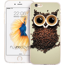 Fundas Capa Coffee Owl Clear Soft TPU Silicone Phone Cover for iPhone X 7 8 Plus Case for iPhone 5S 5 SE 6 6S Plus 5C 4S 4 Cases(China)
