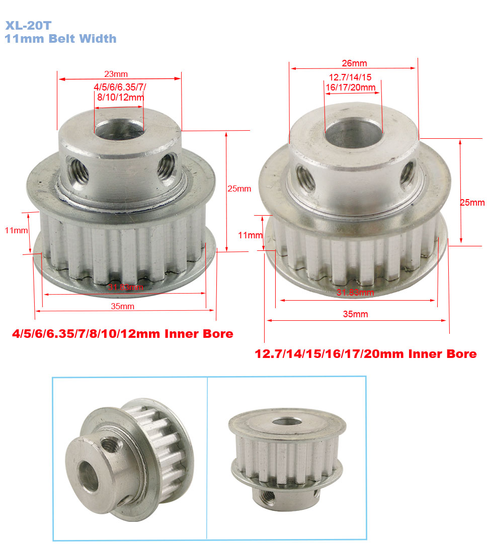 XL Type 12-Teeth 4//5//6//6.35//7//8mm Bore 11mm Width 1//5/'/' Pitch Timing Belt Pulley