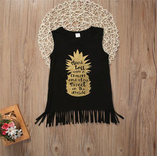 Pineapple Tassel Dress Toddler Kid Baby Girls Black Casual Dress Princess Party Pageant Holiday Dresses
