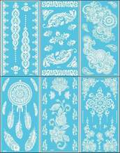 12Sheets New Lace White Henna Tattoo Sticker Totem Butterfly Sun 36 Designs Brand Temporary Tattoo Body Art for Women Tatuagem