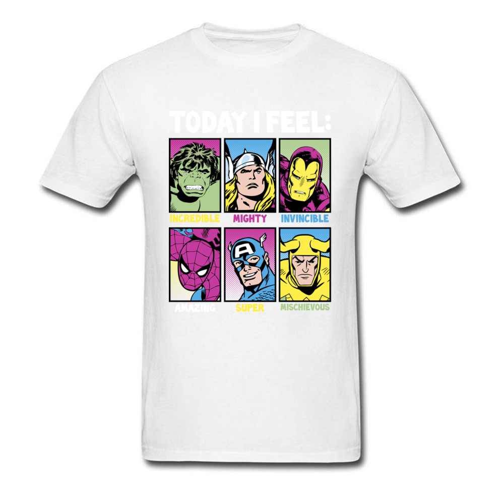 Star Wars Today I Feel Marvel Heroes T Shirts Funky Mens Summer/Autumn Tops Tees Casual Top T-shirts Crewneck 100% Cotton Fabric Today I Feel Marvel Heroes white