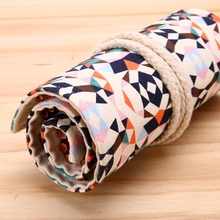 2017 New 36/48/72 Holes Canvas Pencil Case Colorful Geometric Patterns Pencil Brush Bag Kits Rolling Up Holders Bag Pencil Pouch