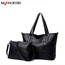 MANXISI Brand Luxury Handbags Women bag Leather Bags Black Casual Tote Shoulder bags Solid Soft Zipper Composite Bag SET - Official Store store