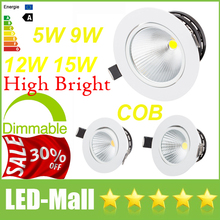 "Crazy 30% OFF-3.5"" 4.5"" CREE 5W 9W 12W 15W Dimmable COB LED Downlights Fixture Recessed Ceiling Down Lights Lamps Warranty 5year"