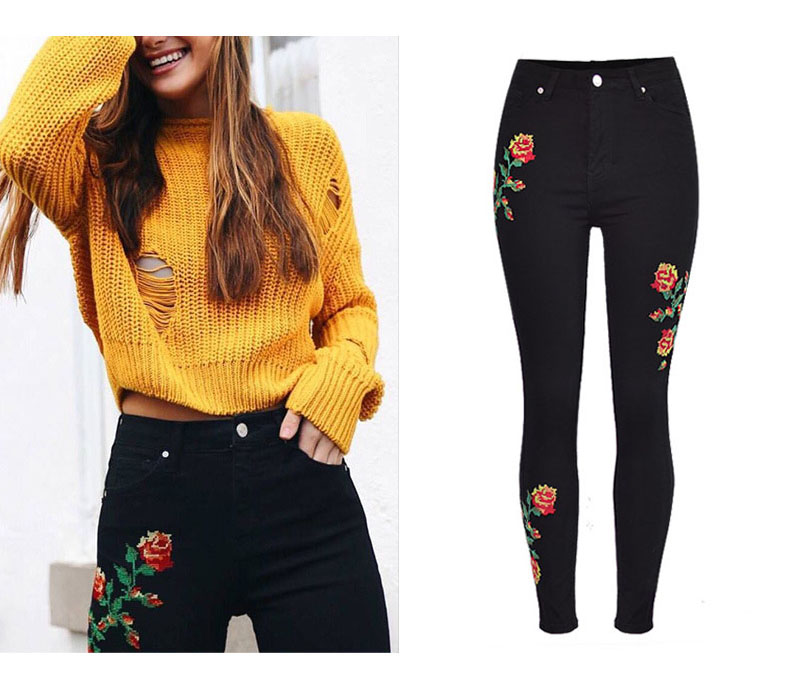 2017 European and American women hot high waist Slim stretch front and rear side cross embroidery roses cowboy pants pants pants (2)