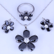 Huge Black Imitation Onyx Cubic Zirconia Flower Hoop Earrings / Pendant Necklace / Rings Silver Color Women Jewelry Sets H0247