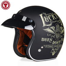 TORC Helmet Casco Capacete Vintage Motocross Helmets Moto Cafe Racer Motorcycle Scooter 3/4 Retro Open Face Motocicleta Cacapete(China)