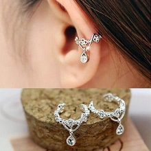 1pc Elegant Women Crystal Rhinestone Water Drop Pendant Ear Cuff Wrap Clip Cartilage Earrings Silver Gold Faux Piercing Jewelry(China)