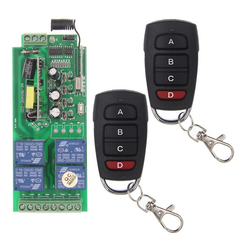 AC 85V-265V 110V 220V 230V 4 Channel 4CH RF Wireless Remote Control Switch System Receiver + 2X Transmitters, 315 433.92 MHZ<br><br>Aliexpress