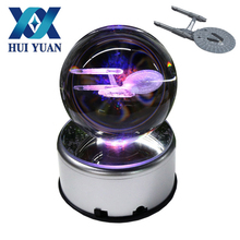 HUI YUAN 3D Star Trek Crystal Ball Fancy LED Lighting and Spinning Primary Base Advance 3D Laser Engraving Valentine Children's