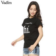 Fashion Ladies' stylish letter print T shirt cute black & white hi short sleeve shirts casual brand design tops DT225(China)