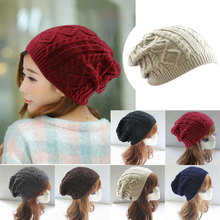 Cheap 2017 Women thick Caps Twist Pattern Women Knitted Sweater Hats pom poms winter hat cotton beanies cap female W2