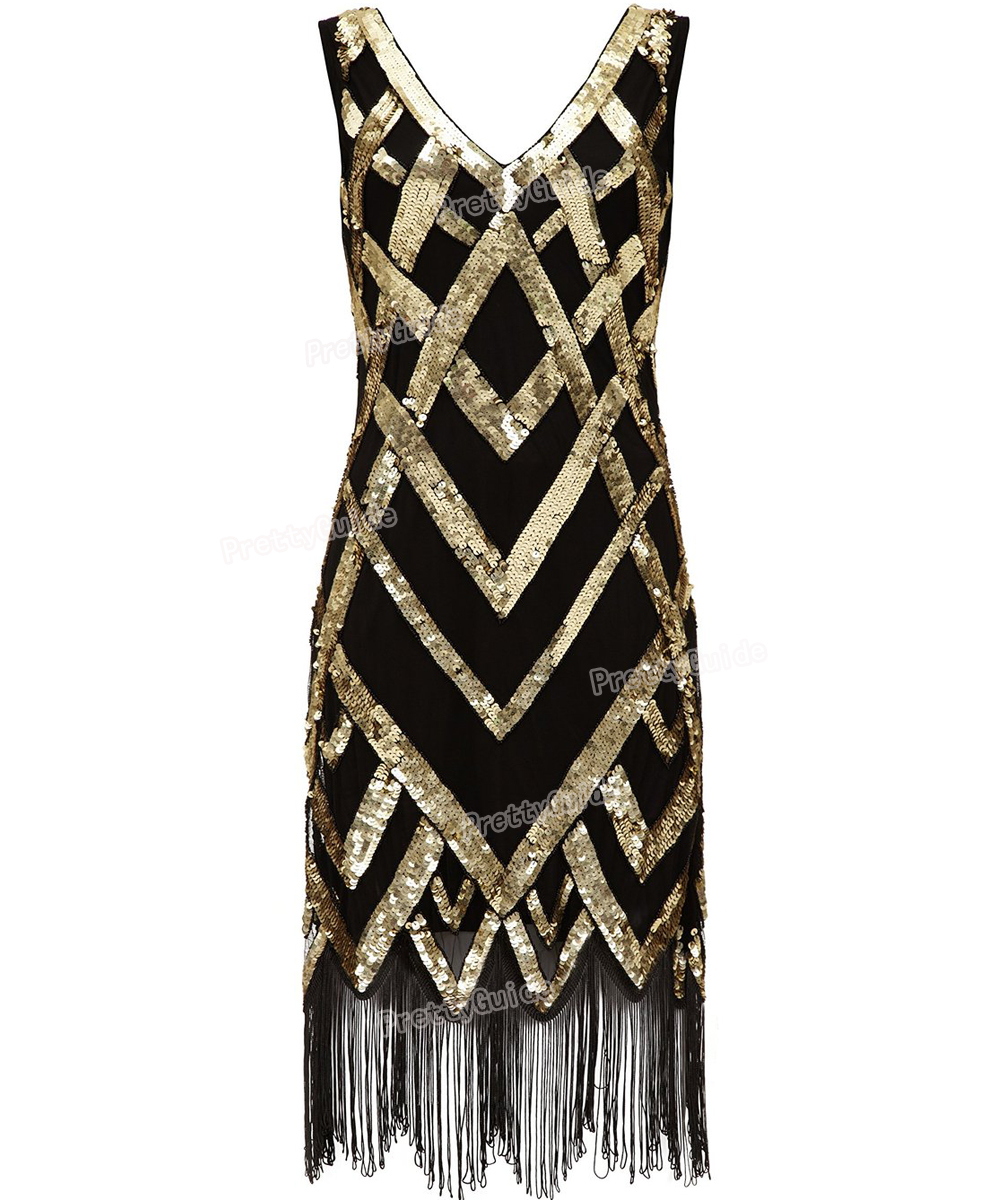 PrettyGuide Women 1920's Vintage Beads Sequin Crisscross Fringe Hem Cocktail Flapper Dress Roaring 20s Plus Size Gatsby Dress(China (Mainland))