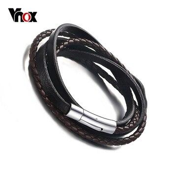 Vnox trenzado cuero cuerda tejida wrap surfer pulsera punky del cuero genuino pulsera y brazalete con cierre de imán
