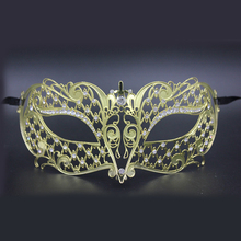 Luxury Rhinestones Silver Metal Laser Cut Venetian Masquerade Mask Half Face Gold Party Dace Wedding Show Mardi Gras Masks